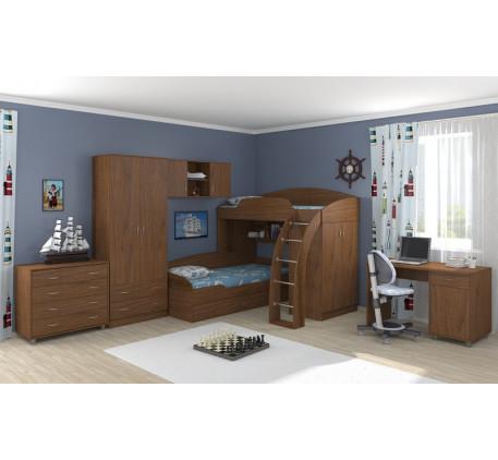 Кровать Соня-1 (верхняя)+Соня-2 (нижняя)+Соня-3 (шкаф с полкой)+стол Портофино (СТ-01)+комод Портофи..