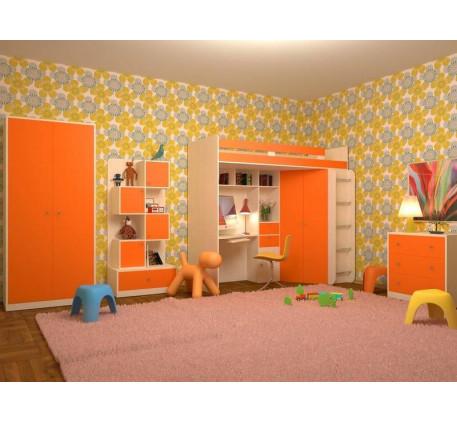 Детская мебель Астра: Кровать-чердак, Шкаф, Стеллаж, Комод