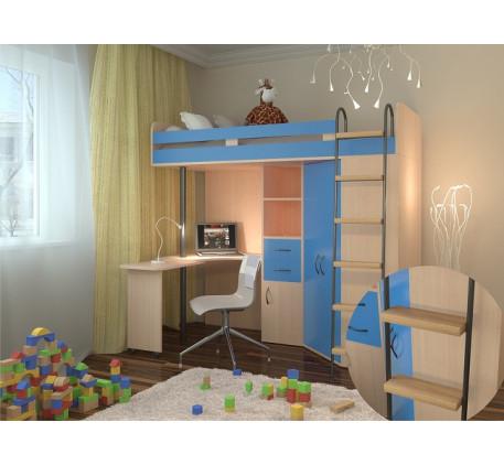 Кровать-чердак для мальчика М-85, спальное место 195х80 см
