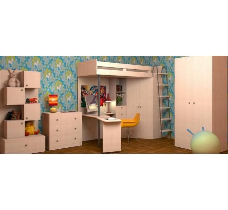 Детская мебель М 85: Кровать-чердак, Шкаф, Стеллаж, Комод