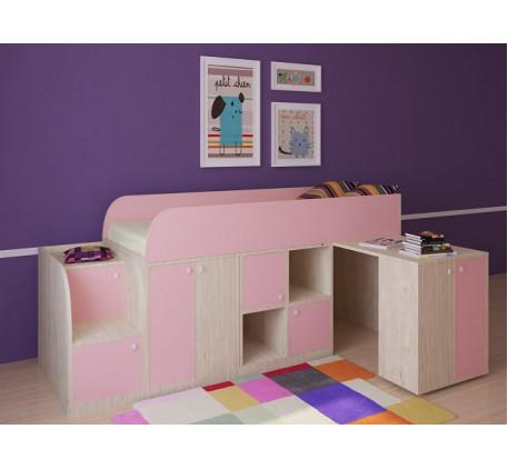 Кровать-чердак для девочки Астра-Мини с бортиками, спальное место 190х80 см