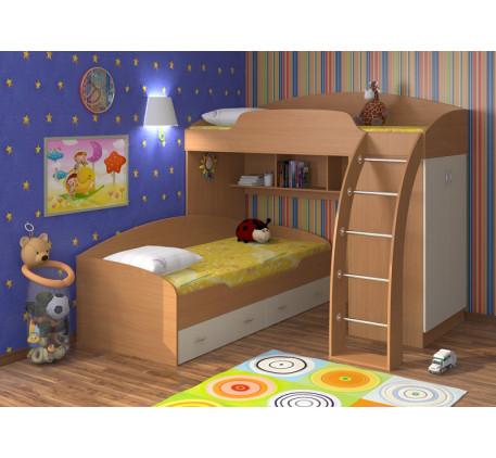 Двухъярусная кровать Соня со шкафом, спальные места 190х80 см