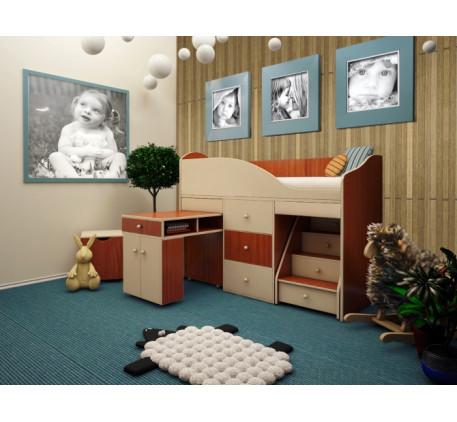 Мини кровать-чердак для детей от 2-3 лет Вжик, спальное место 160х70 см
