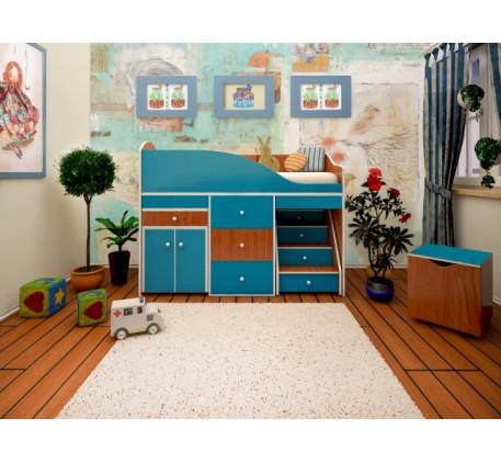 Низкая кровать-чердак со столом Вжик, спальное место 160х70 см
