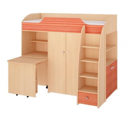 Кровать-чердак Радуга со шкафами и выкатным столом, спальное место 2000*800 мм.
