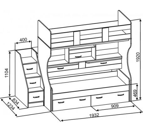 Детская выдвижная двухъярусная кровать Дуэт-4 («Славмебель»)