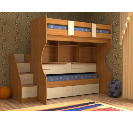 Выкатная кровать для двоих детей Дуэт-4 с выдвижными нижним спальным местом и двумя столами