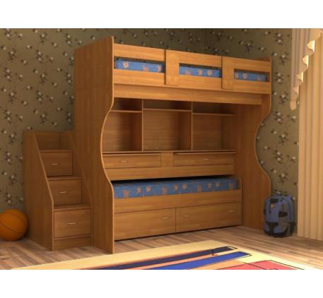 Кровать с выдвижным спальным местом Дуэт-4 для двоих детей с двумя столами