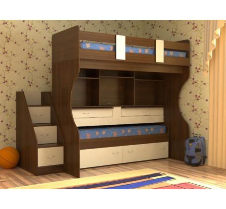 Детская выкатная кровать Дуэт-4 с выдвижными нижним спальным местом и двумя столами