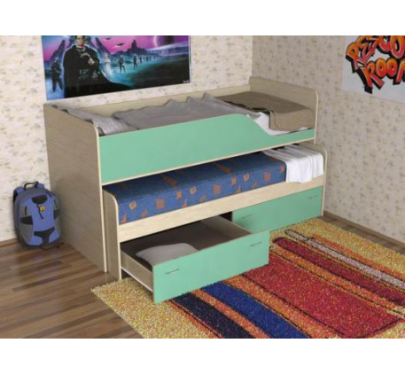 Двухъярусная выдвижная кровать Дуэт-2 для двух детей с выкатным спальным местом с ящиками