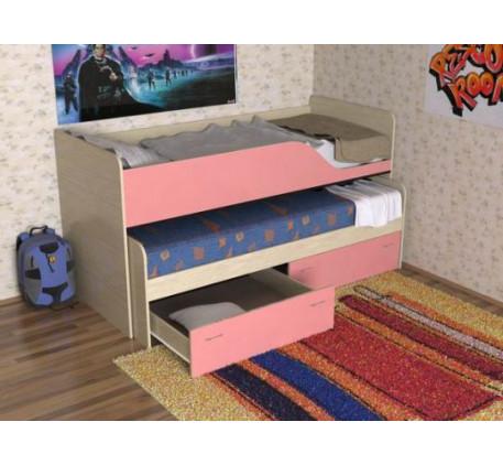 Двухъярусная выкатная кровать Дуэт-2 для двоих детей с выдвижным спальным местом с ящиками