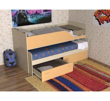 Выкатная кровать для двоих детей Дуэт-2 с выдвижным спальным местом с ящиками