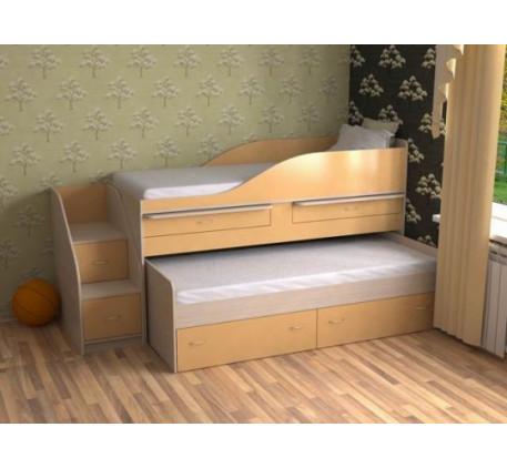 Двухъярусная выдвижная кровать Дуэт-8 для двух детей с выкатным спальным местом и столами