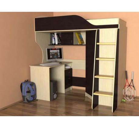 Кровать-чердак Квартет-2 с деревянной лестницей, спальное место 190х80 см