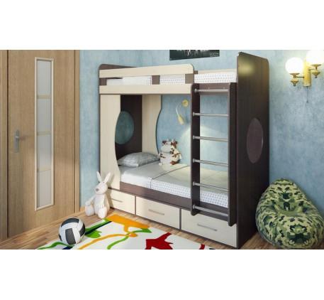 Детская двухъярусная кровать Милана-1 с бортиками, спальные места 190х80 cм