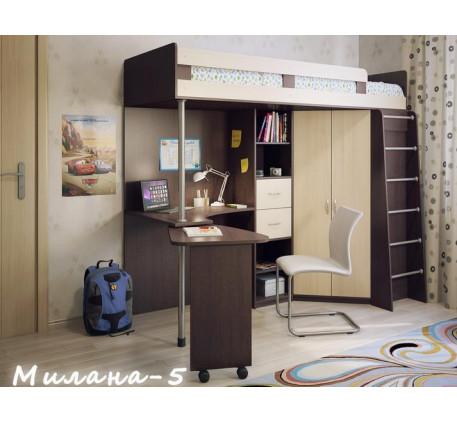 Кровать-чердак Милана-5 со шкафом и столом, спальное место 200х800 см