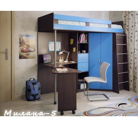 Кровать-чердак для мальчика Милана-5, спальное место 200х800 см