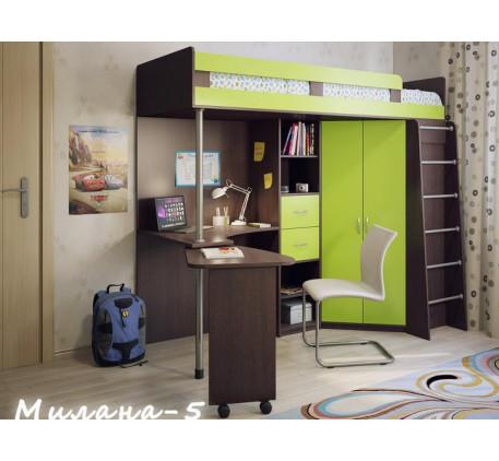 Кровать-чердак для детей Милана-5, спальное место 200х800 см