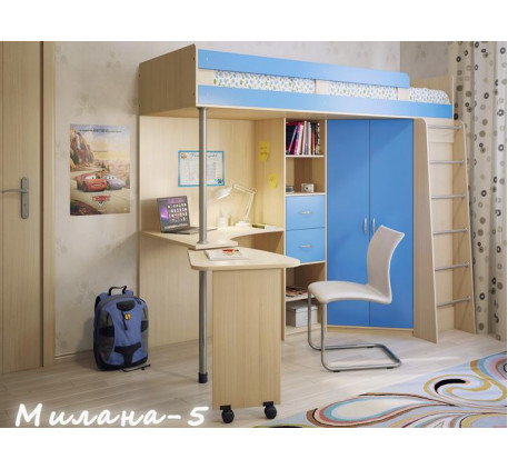Кровать-чердак со столом и шкафом Милана-5, спальное место 200х80 см