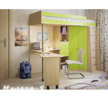 Кровать-чердак с рабочей зоной для подростка Милана-5, спальное место 200х80 см