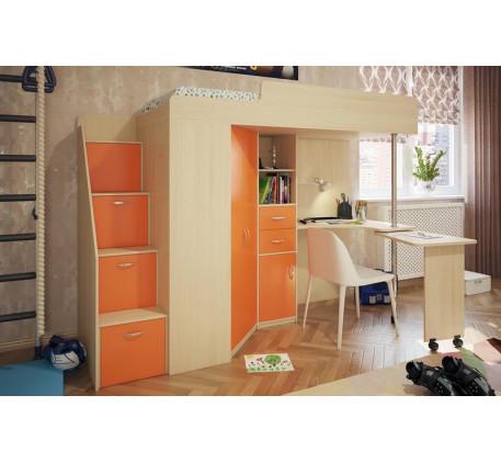Детская кровать-чердак с рабочей зоной Милана-6, спальное место 200х80 см