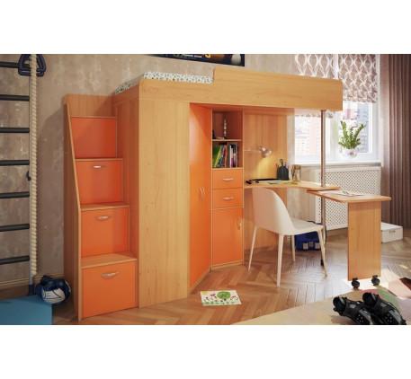 Кровать-чердак с рабочей зоной для подростка Милана-6, спальное место 200х80 см