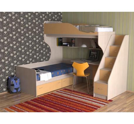 Детская двухъярусная кровать со столом Дуэт-5