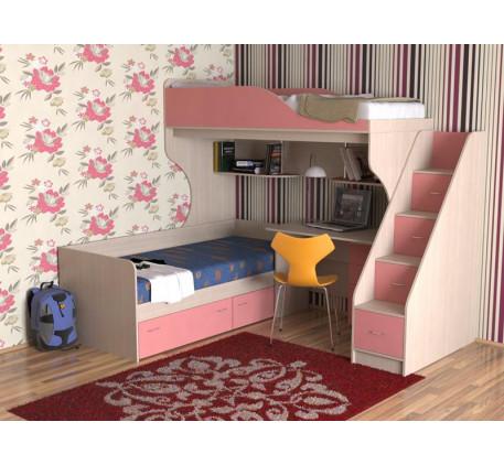 Двухъярусная кровать для детей со столом Дуэт-5