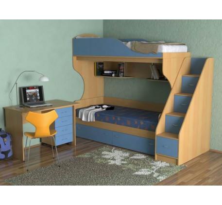 Двухъярусная кровать с письменным столом Дуэт-5