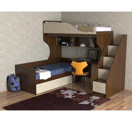 Двухъярусная кровать со столом внизу Дуэт-5