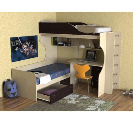 Детская кровать-чердак с кроватью внизу Дуэт-5 с металлической лестницей