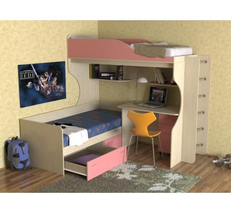 Кровать Дуэт-5 для двоих детей с металлической лестницей