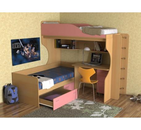 Детская кровать Дуэт-5 с металлической лестницей