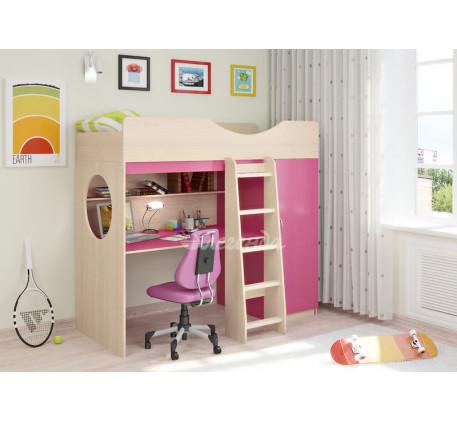 Кровать-чердак для девочки Легенда-9.1 со столом, спальное место 180х80 см