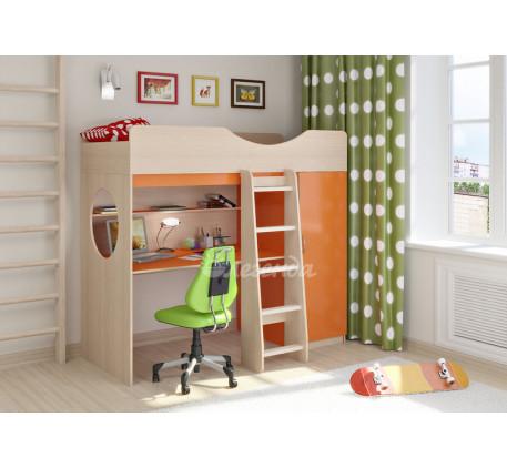 Детская кровать-чердак Легенда-9.1 со столом и шкафом, спальное место 180х80 см