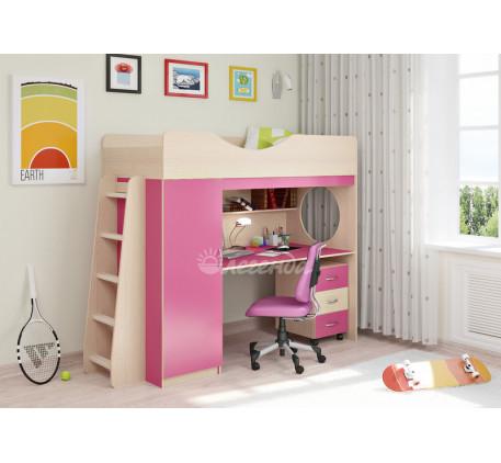 Кровать-чердак с рабочей зоной для девочки Легенда-9.2, спальное место 180х80 см