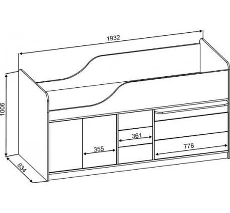 Кровать-чердак Кузя-3, Кузя-4, детская Кузя-5 с горкой («Славмебель»)