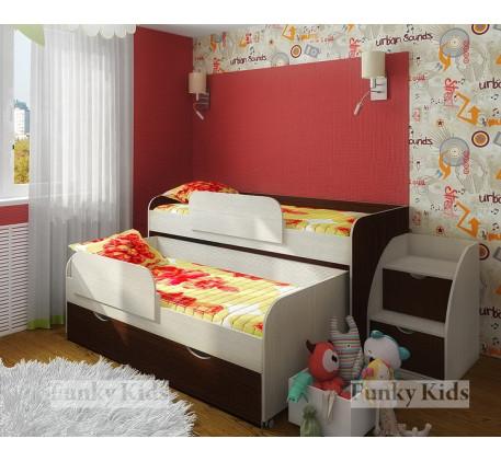 Детская выдвижная кровать Фанки Кидз-8 для двоих детей с выкатным спальным местом с ящиком +тумба-ле..