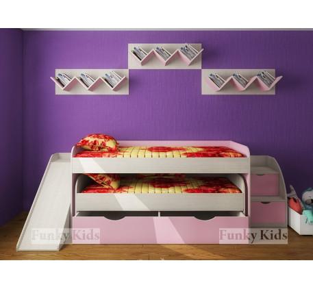 Выдвижная кровать для двоих детей Фанки Кидз-8 с выкатным спальным местом +тумба-лестница 13/19 +гор..