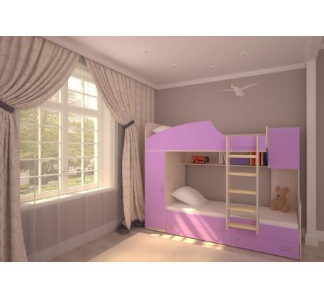 Двухъярусная кровать Юниор-2 (левая), спальные места детской кровати 190х80 см