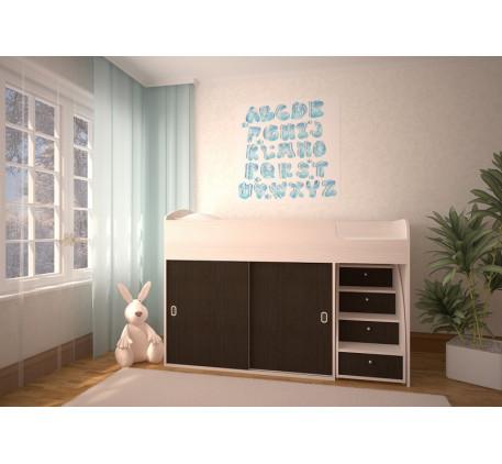 Детская кровать-чердак Малыш-Купе, спальное место 160х70 см