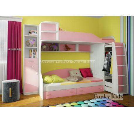 Двухъярусная кровать для девочек Фанки Кидз-12 +стеллаж 13/16, спальные места 190х80 см