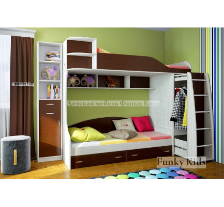 Кровать для двоих детей Фанки Кидз-12 +стеллаж 13/16, спальные места 190х80 см
