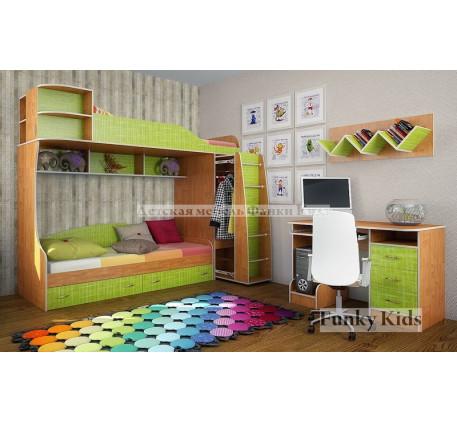 Мебель для двоих детей: кровать Фанки Кидз-12 +стол 13/1 +полка 13/11, спальные места 190х80 см