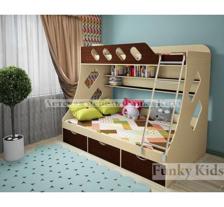 Кровать Фанки Кидз-16, нижнее спальное место 190х120 см, верхнее 190х90 см