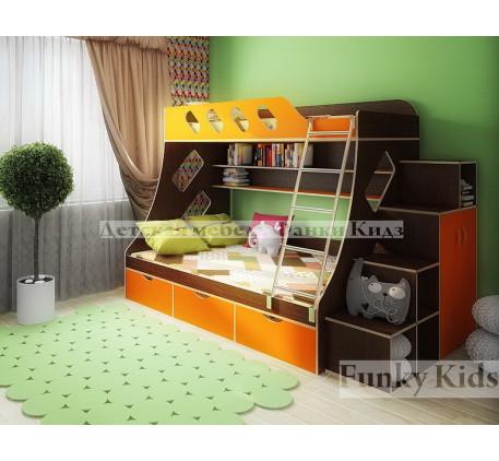 Кровать для двоих детей Фанки Кидз-16 +лестница-стеллаж 13/29.