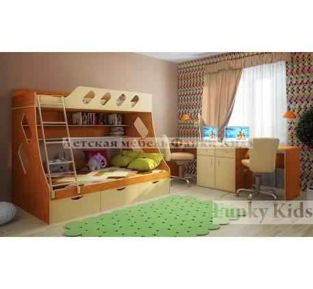 2-х ярусная кровать Фанки Кидз-16 +стол письменный 13/28 (2 шт.)