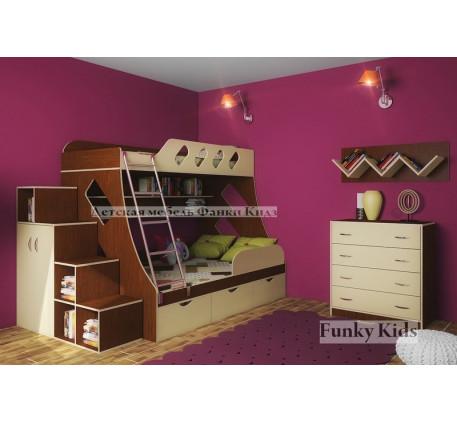 Комната для двоих детей: кровать Фанки Кидз-16 +комод 13/24 +ограничитель 13/17 +лестница 13/29 +пол..