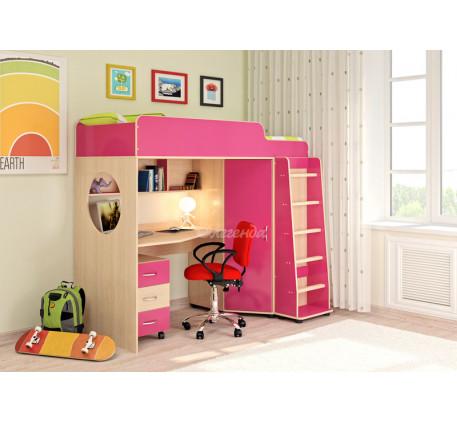 Кровать-чердак для девочки Легенда-4.2 с тумбой, спальное место 190х80 см
