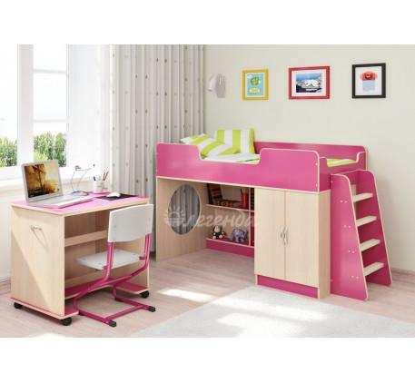 Кровать-чердак для девочки Легенда 2.2 со столом Л-02, спальное место 160х80 см